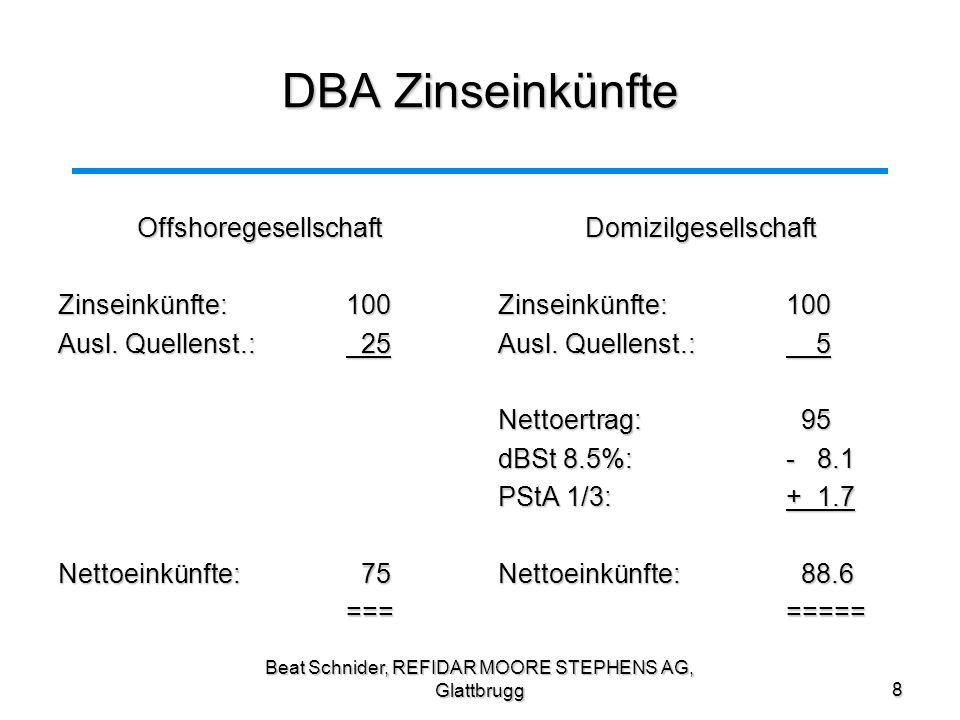 DBA Zinseinkünfte Offshoregesellschaft Zinseinkünfte: 100