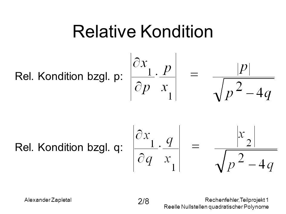 Relative Kondition Rel. Kondition bzgl. p: Rel. Kondition bzgl. q: