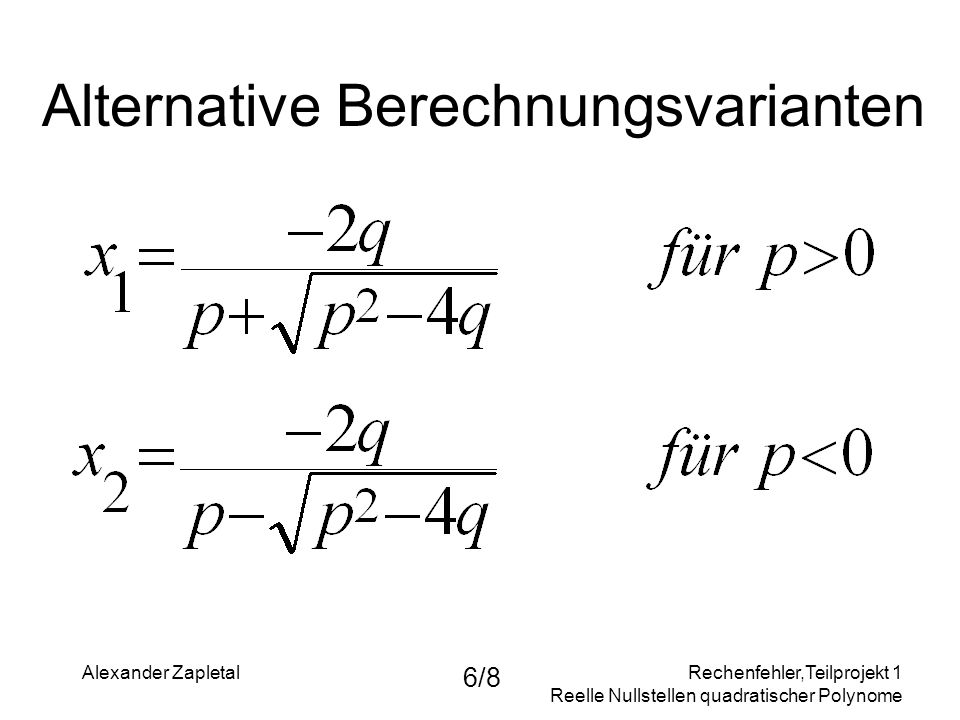 Alternative Berechnungsvarianten