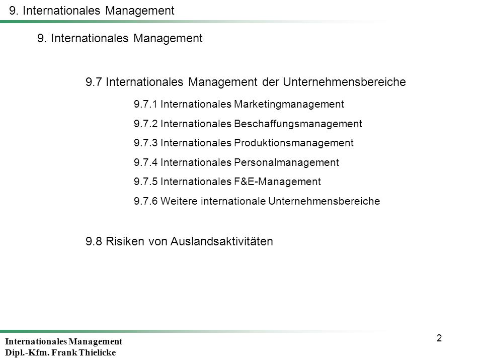 9. Internationales Management