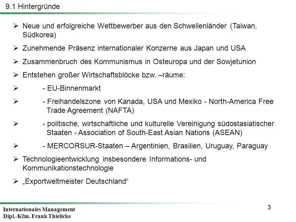 9.1 Hintergründe Neue und erfolgreiche Wettbewerber aus den Schwellenländer (Taiwan, Südkorea)