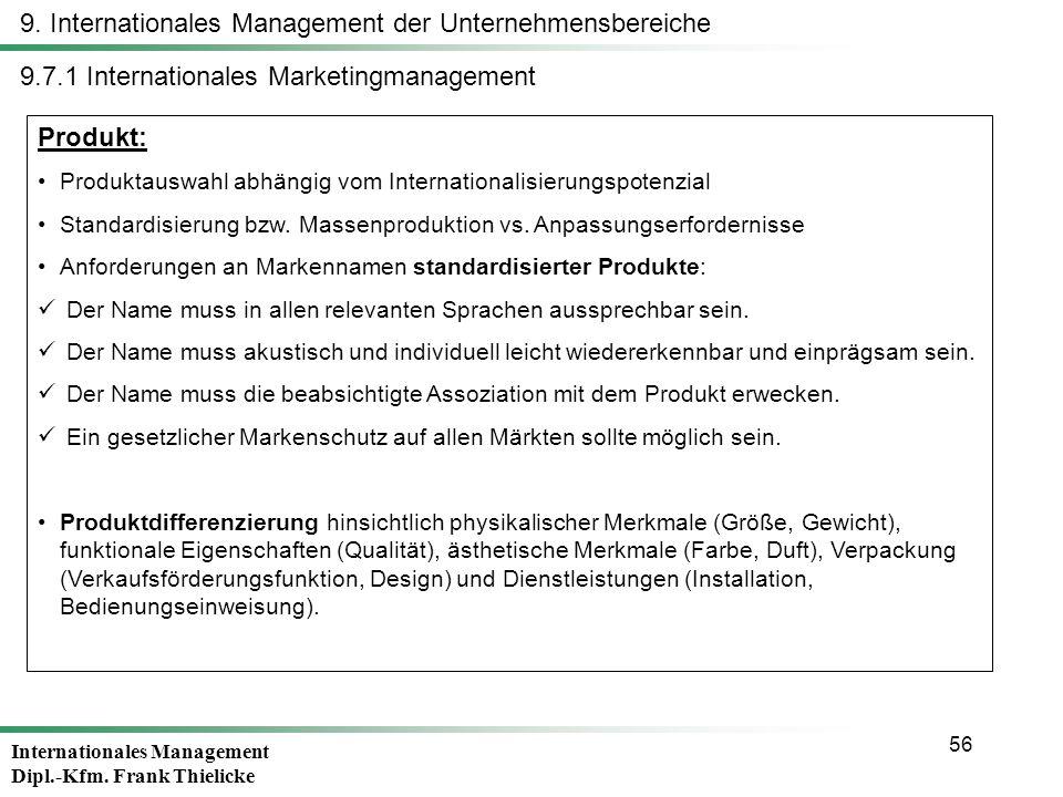 9. Internationales Management der Unternehmensbereiche