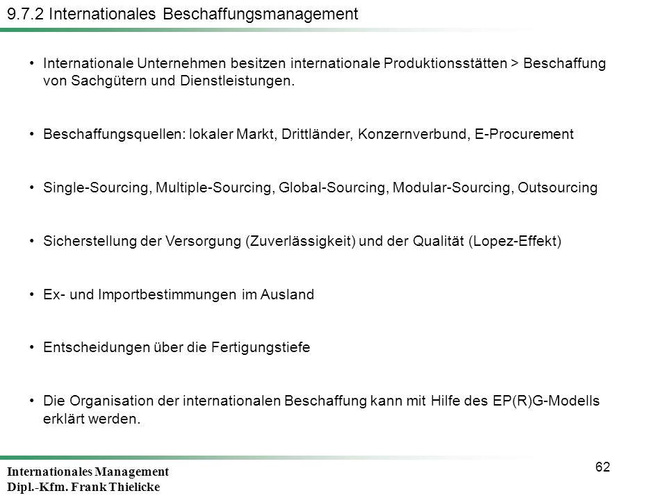 9.7.2 Internationales Beschaffungsmanagement