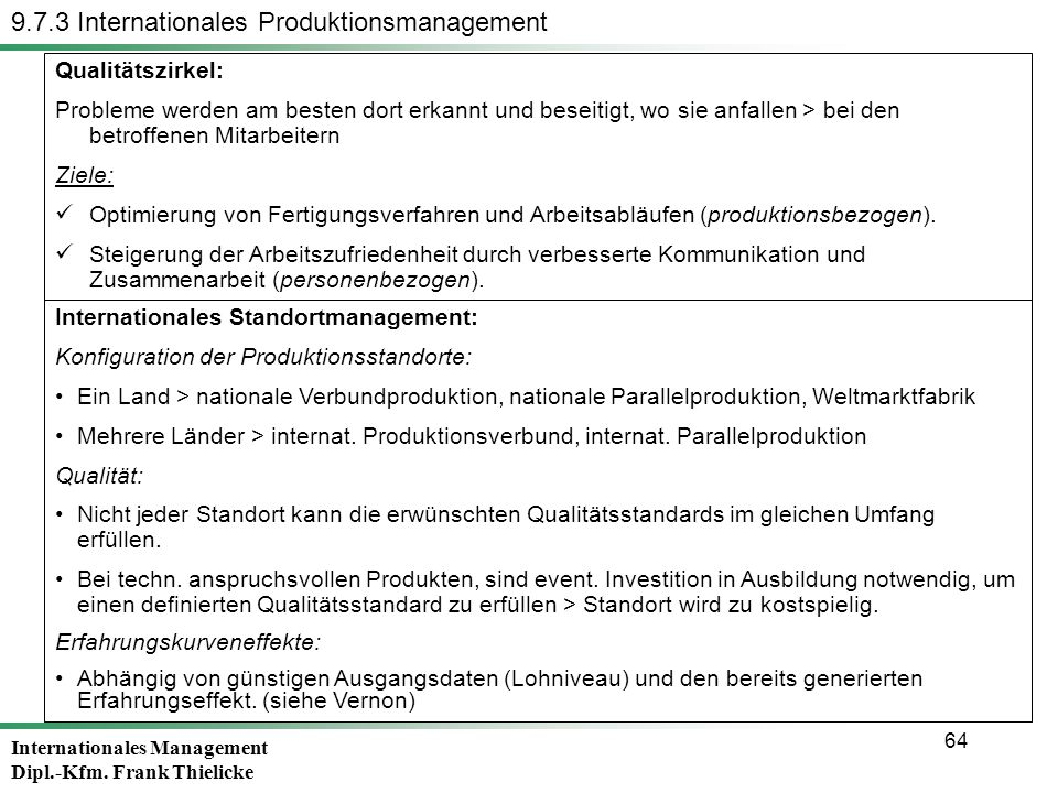 9.7.3 Internationales Produktionsmanagement
