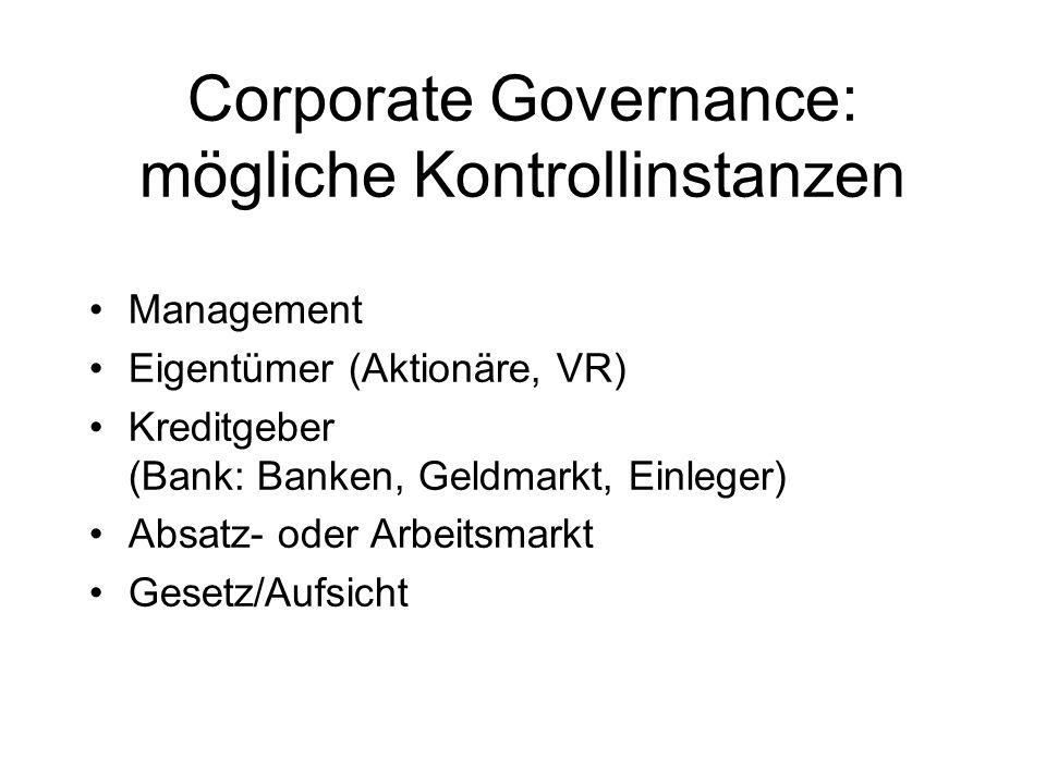 Corporate Governance: mögliche Kontrollinstanzen