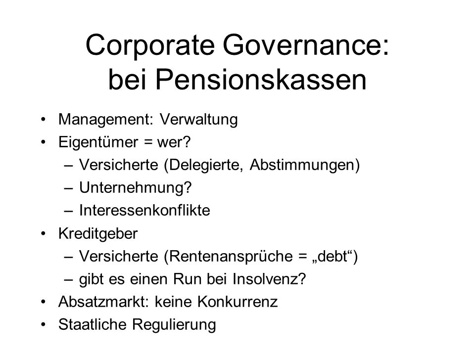 Corporate Governance: bei Pensionskassen