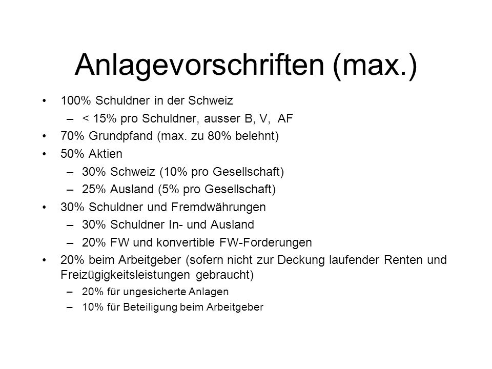 Anlagevorschriften (max.)