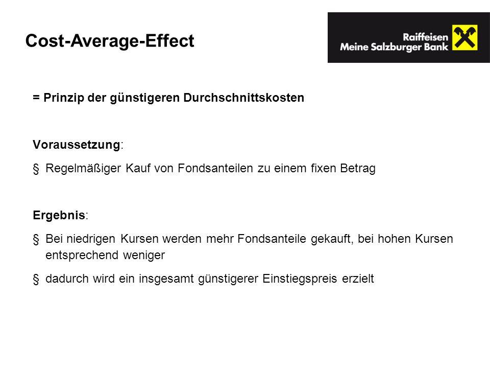 Cost-Average-Effect = Prinzip der günstigeren Durchschnittskosten