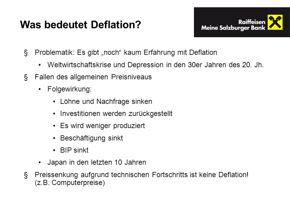 Was bedeutet Deflation