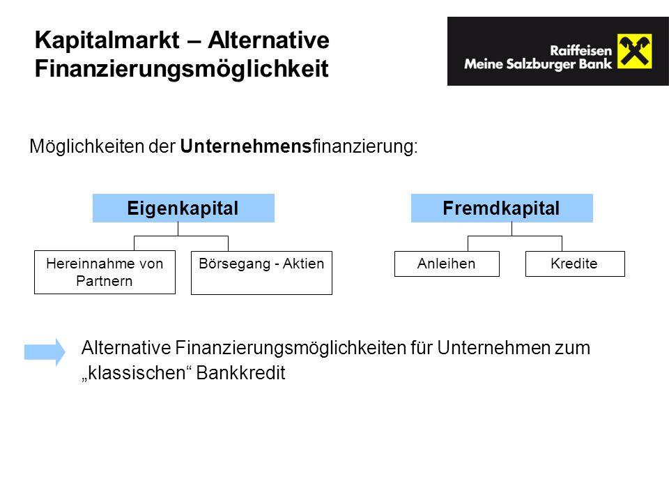 Kapitalmarkt – Alternative Finanzierungsmöglichkeit