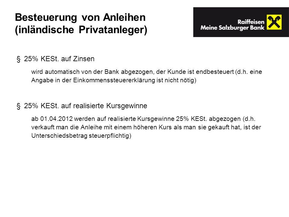 Besteuerung von Anleihen (inländische Privatanleger)