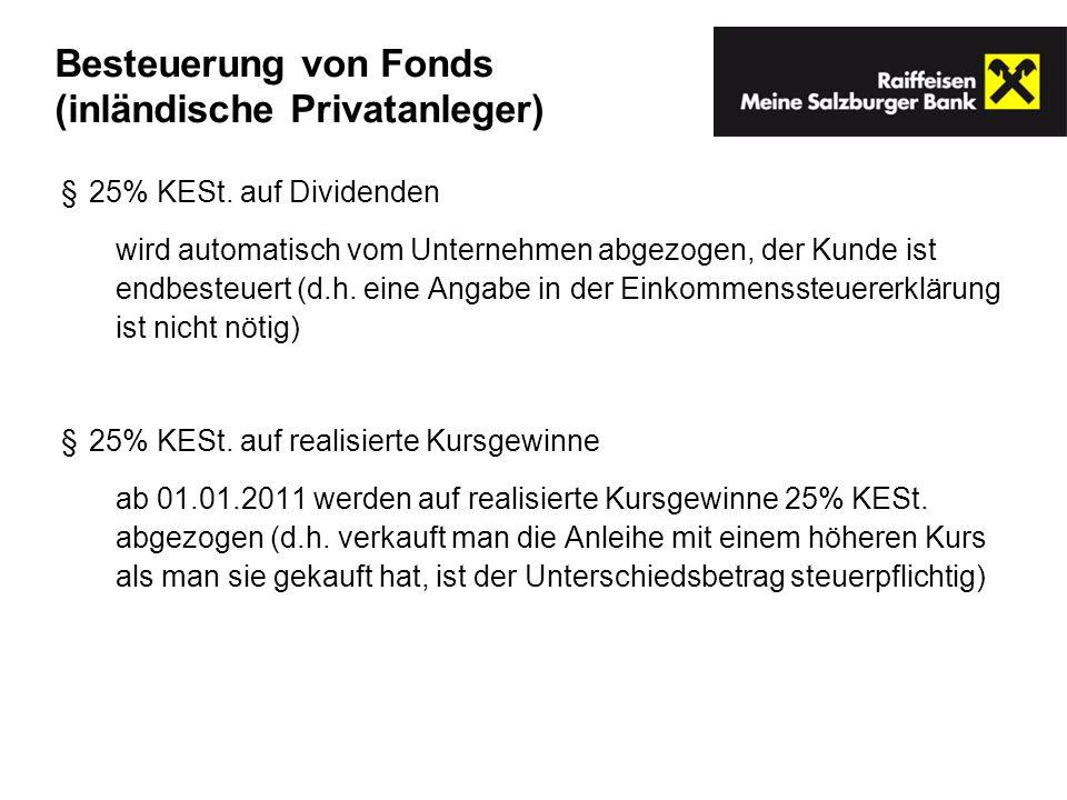 Besteuerung von Fonds (inländische Privatanleger)
