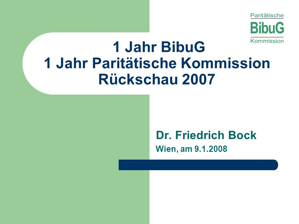 1 Jahr BibuG 1 Jahr Paritätische Kommission Rückschau 2007
