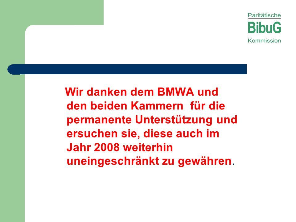 Wir danken dem BMWA und den beiden Kammern für die permanente Unterstützung und ersuchen sie, diese auch im Jahr 2008 weiterhin uneingeschränkt zu gewähren.