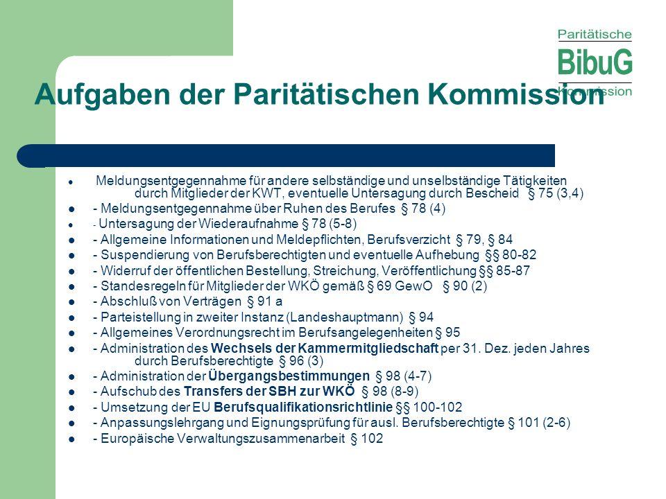 Aufgaben der Paritätischen Kommission
