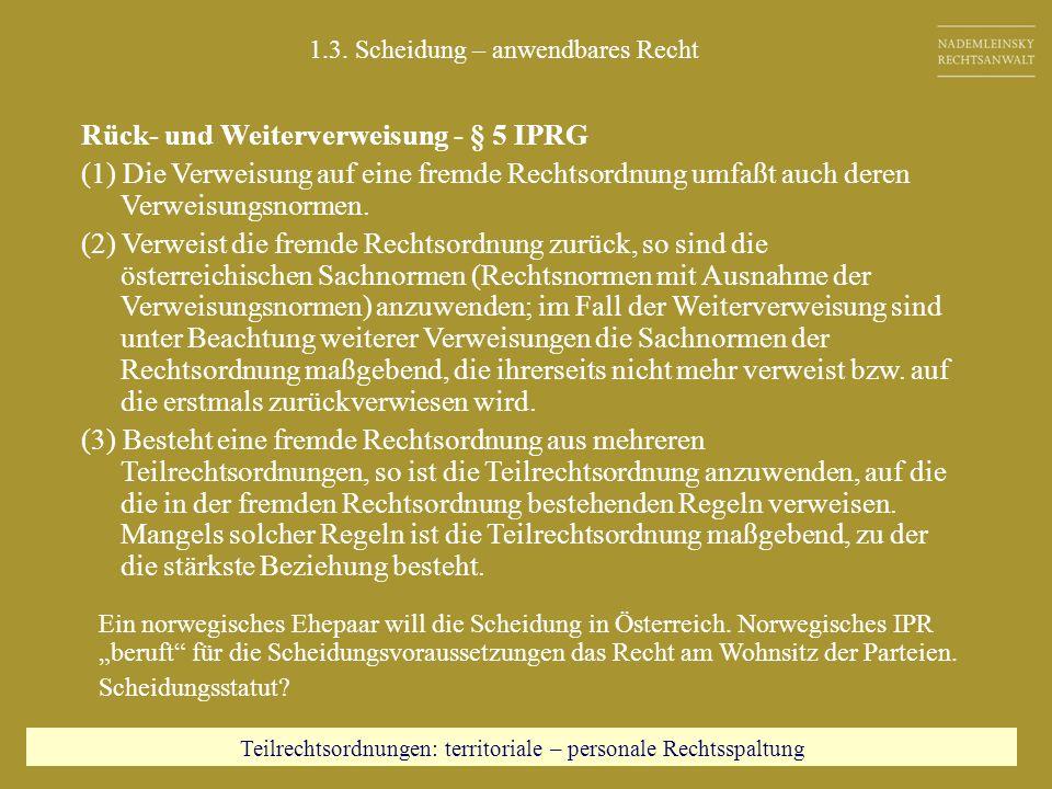 Rück- und Weiterverweisung - § 5 IPRG