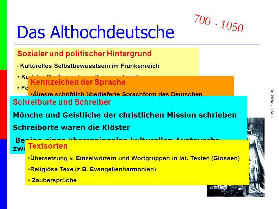 Das Althochdeutsche 700 - 1050 Sozialer und politischer Hintergrund