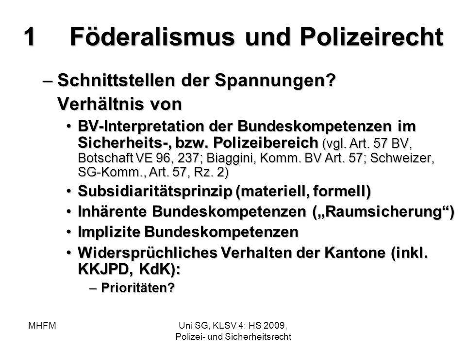 1 Föderalismus und Polizeirecht