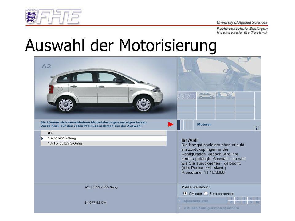 Auswahl der Motorisierung