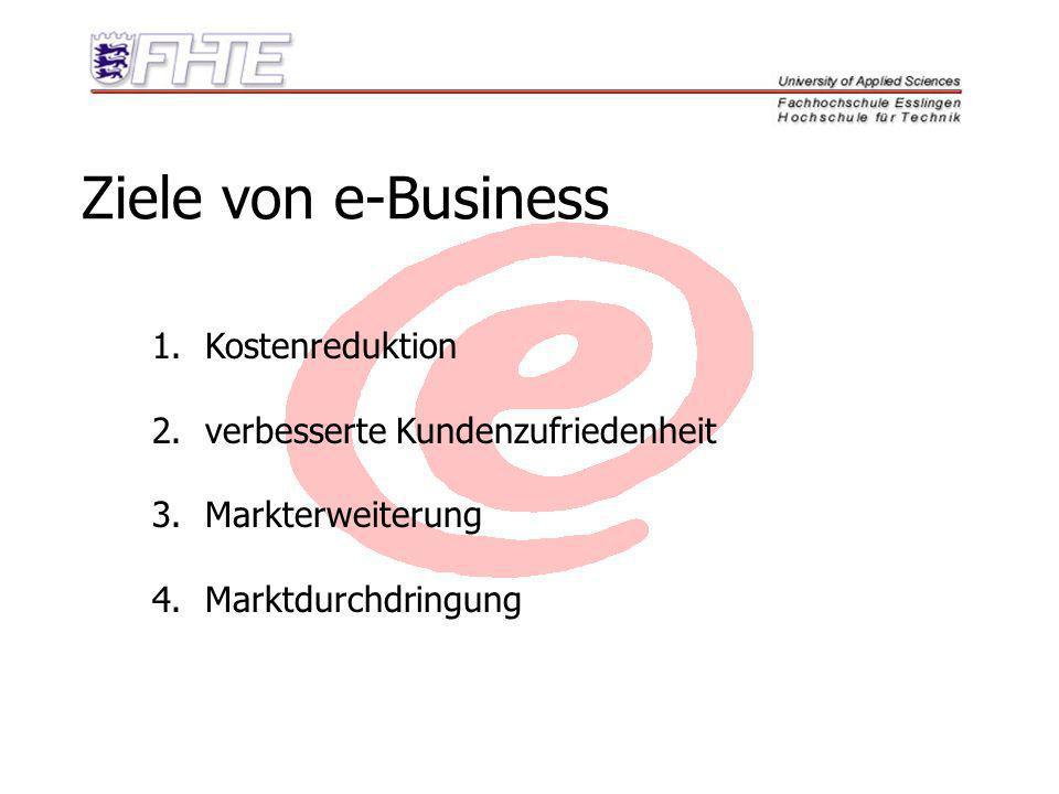 Ziele von e-Business Kostenreduktion verbesserte Kundenzufriedenheit