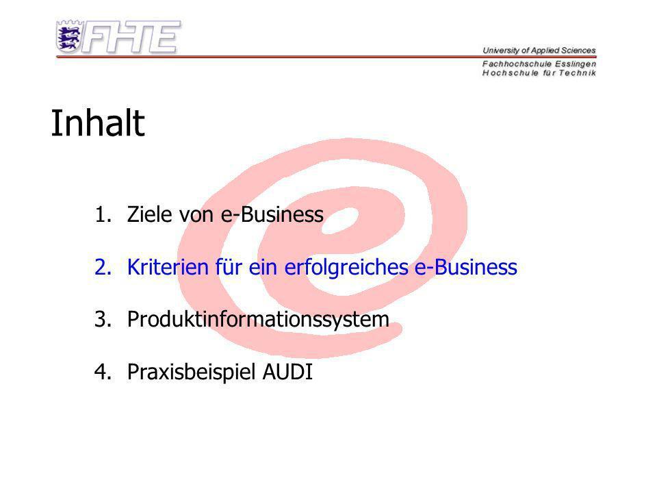 Inhalt Ziele von e-Business Kriterien für ein erfolgreiches e-Business