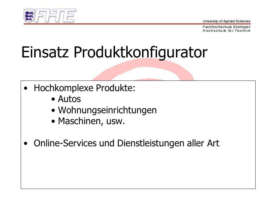 Einsatz Produktkonfigurator