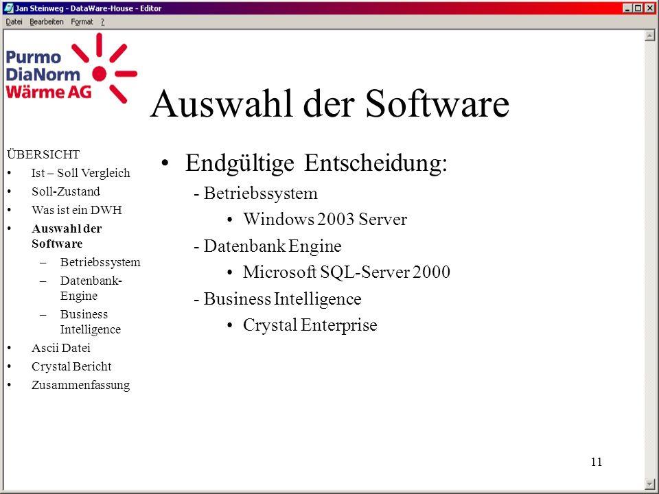 Auswahl der Software Endgültige Entscheidung: - Betriebssystem