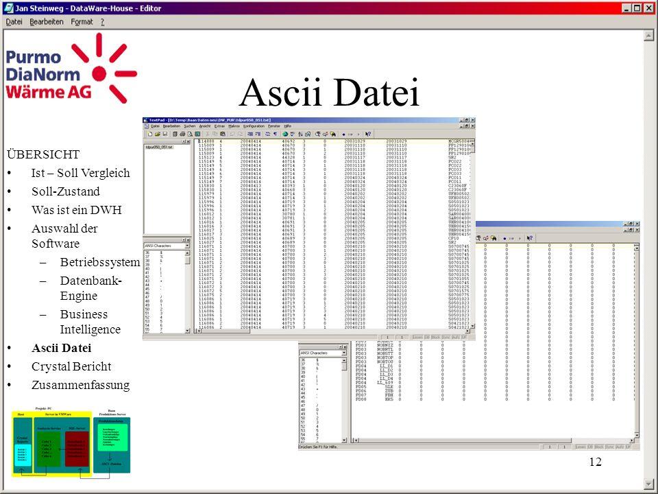 Ascii Datei ÜBERSICHT Ist – Soll Vergleich Soll-Zustand