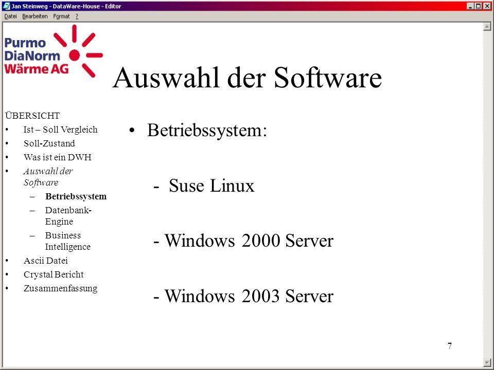Auswahl der Software Betriebssystem: - Suse Linux