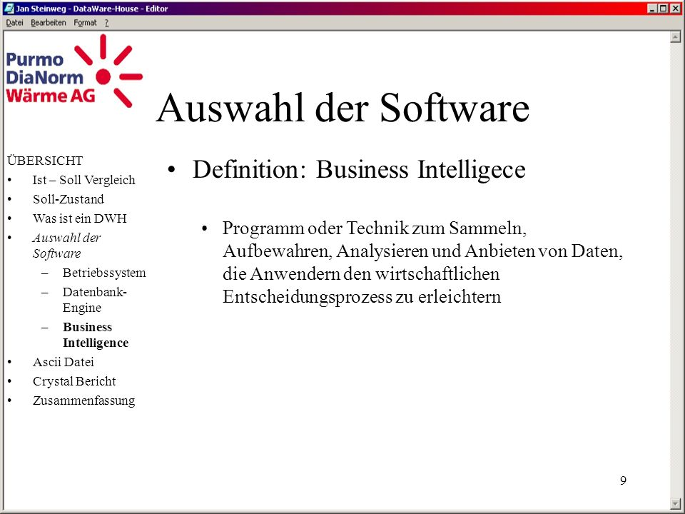 Auswahl der Software Definition: Business Intelligece
