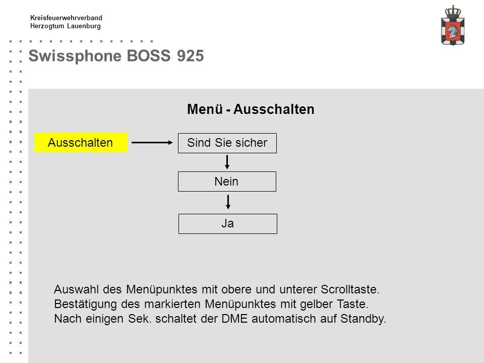 Swissphone BOSS 925 Menü - Ausschalten Ausschalten Sind Sie sicher
