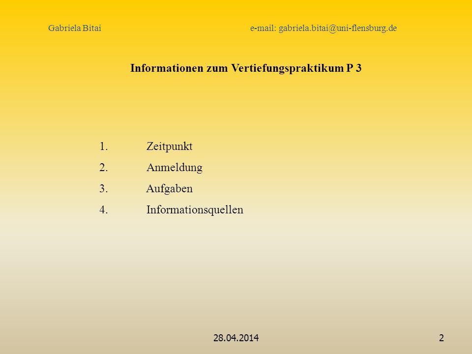 Informationen zum Vertiefungspraktikum P 3