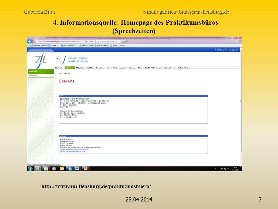 4. Informationsquelle: Homepage des Praktikumsbüros (Sprechzeiten)