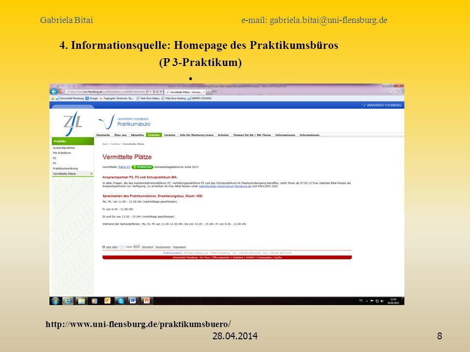 4. Informationsquelle: Homepage des Praktikumsbüros