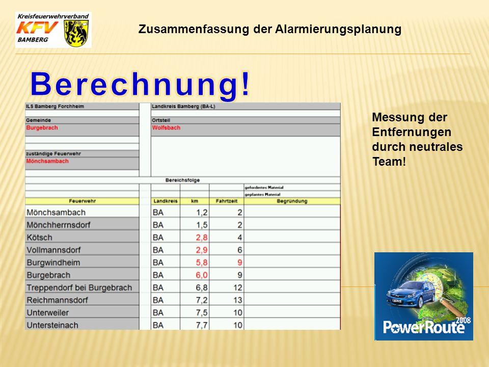 Berechnung! Zusammenfassung der Alarmierungsplanung