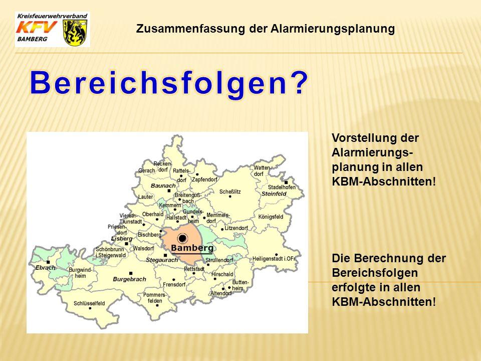 Bereichsfolgen Zusammenfassung der Alarmierungsplanung