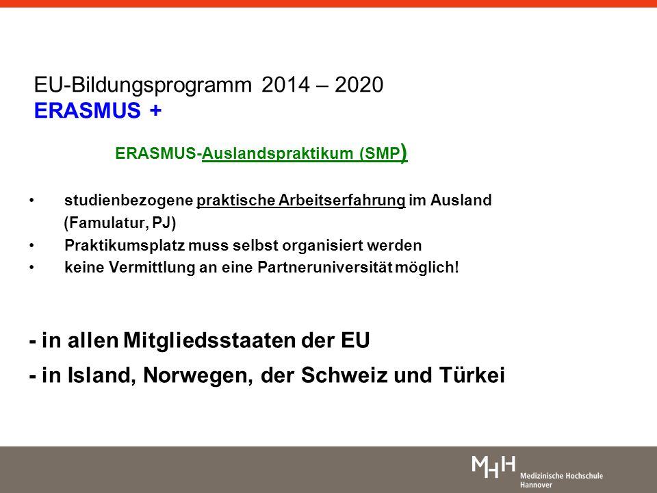 EU-Bildungsprogramm 2014 – 2020 ERASMUS +