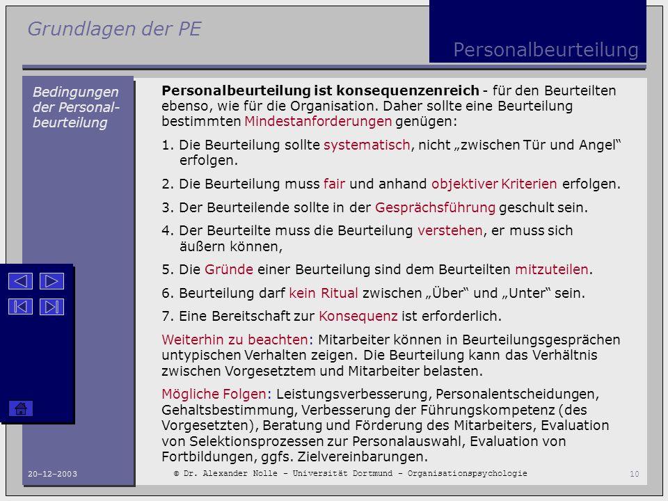 Personalbeurteilung Bedingungen der Personal-beurteilung