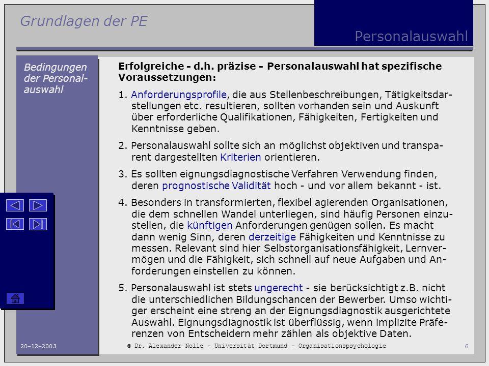 Personalauswahl Bedingungen der Personal-auswahl