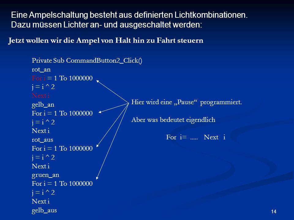 Eine Ampelschaltung besteht aus definierten Lichtkombinationen.