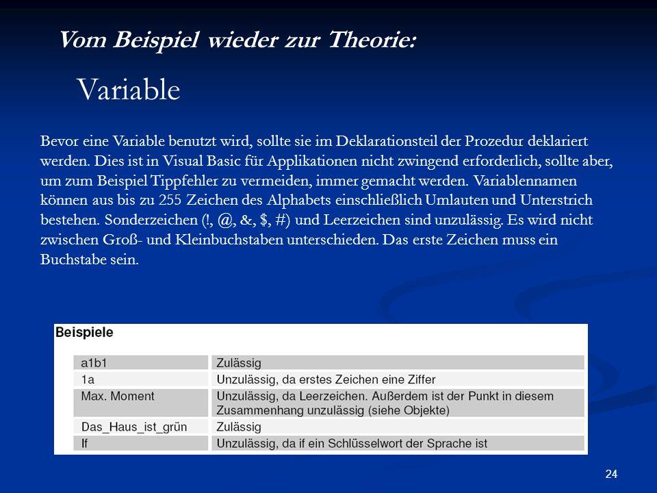 Variable Vom Beispiel wieder zur Theorie: