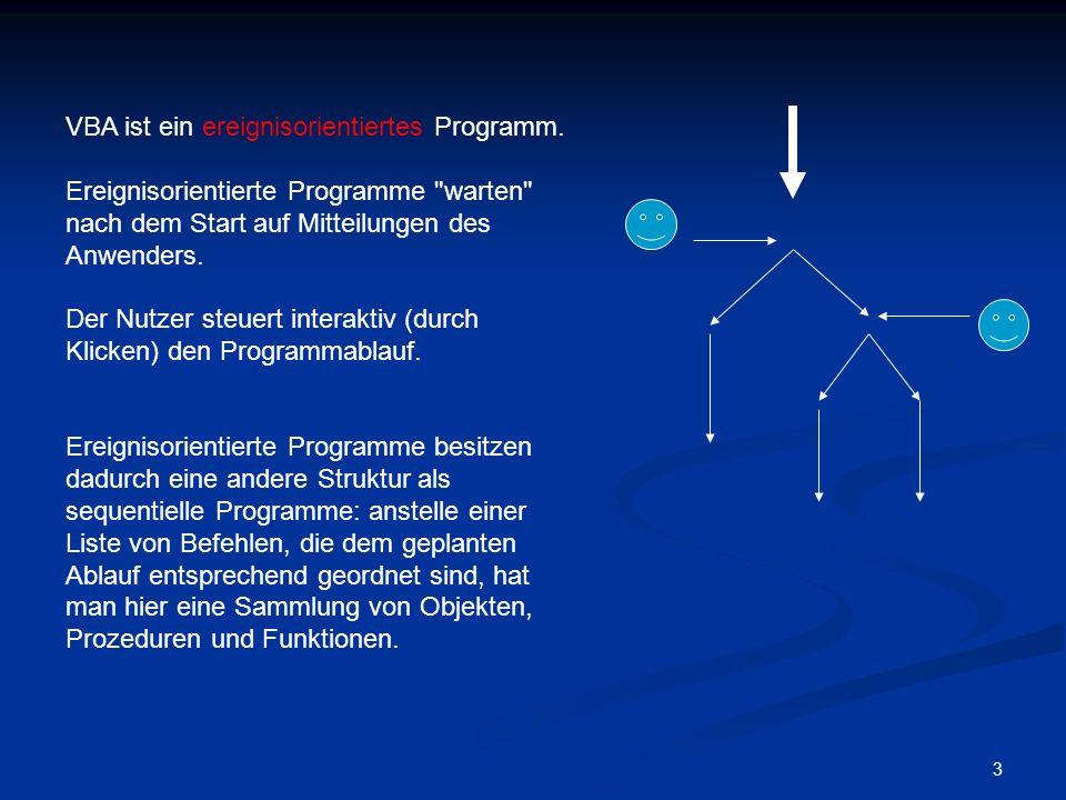 VBA ist ein ereignisorientiertes Programm.