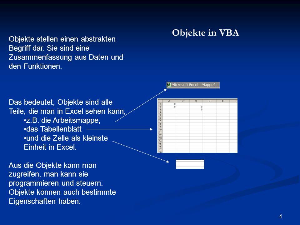 Objekte in VBA Objekte stellen einen abstrakten Begriff dar. Sie sind eine Zusammenfassung aus Daten und den Funktionen.