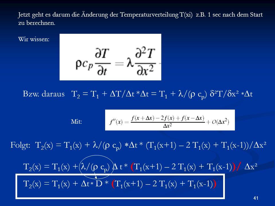 Bzw. daraus T2 = T1 + DT/Dt *Dt = T1 + l/(r cp) d²T/dx² *Dt