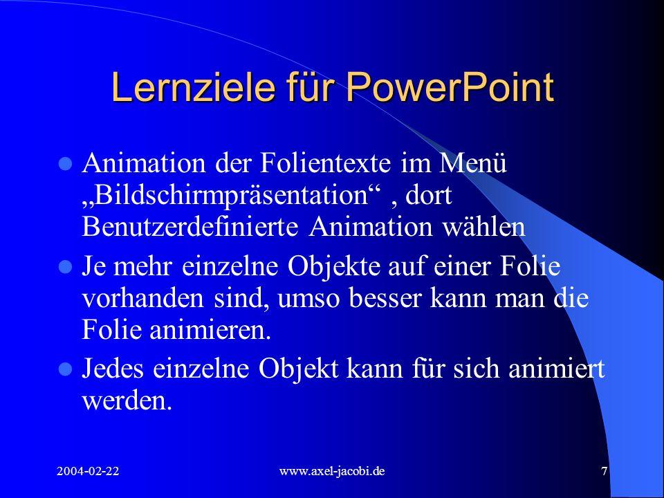 Lernziele für PowerPoint