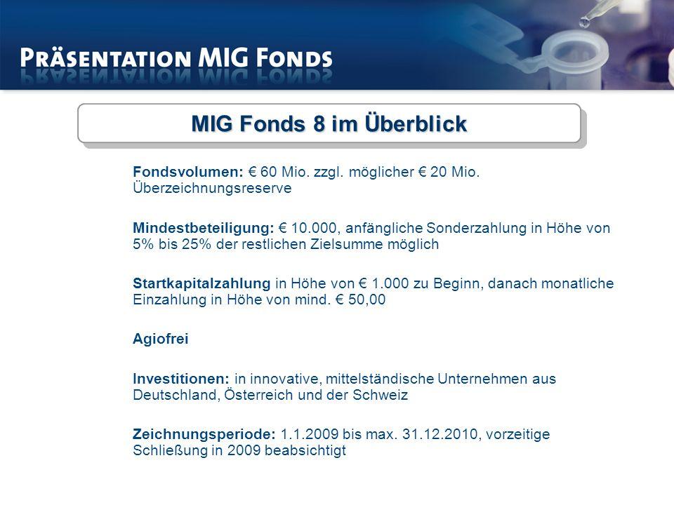 MIG Fonds 8 im Überblick Fondsvolumen: € 60 Mio. zzgl. möglicher € 20 Mio. Überzeichnungsreserve.
