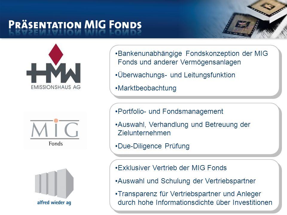 Bankenunabhängige Fondskonzeption der MIG Fonds und anderer Vermögensanlagen