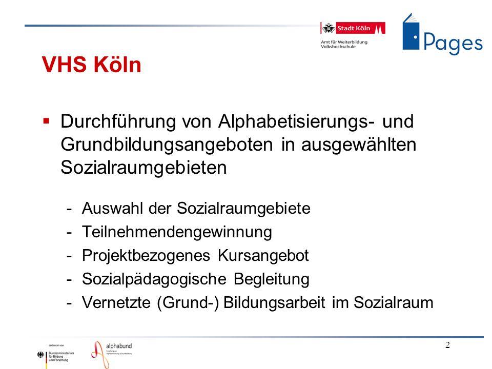 VHS Köln Durchführung von Alphabetisierungs- und Grundbildungsangeboten in ausgewählten Sozialraumgebieten.