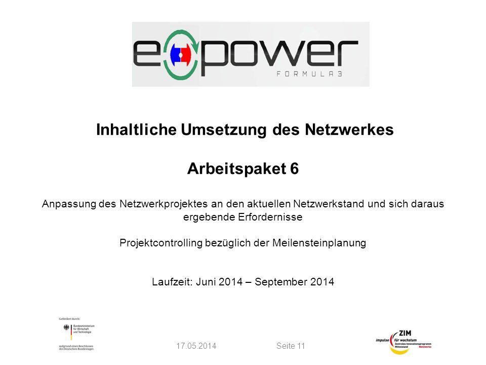Inhaltliche Umsetzung des Netzwerkes Arbeitspaket 6 Anpassung des Netzwerkprojektes an den aktuellen Netzwerkstand und sich daraus ergebende Erfordernisse Projektcontrolling bezüglich der Meilensteinplanung Laufzeit: Juni 2014 – September 2014