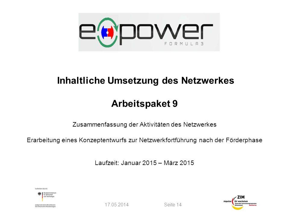 Inhaltliche Umsetzung des Netzwerkes Arbeitspaket 9 Zusammenfassung der Aktivitäten des Netzwerkes Erarbeitung eines Konzeptentwurfs zur Netzwerkfortführung nach der Förderphase Laufzeit: Januar 2015 – März 2015